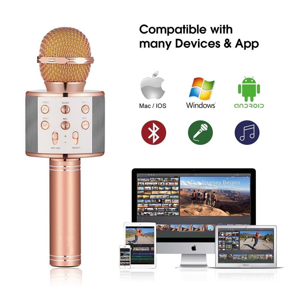 WS-858 Microphone Wireless Bluetooth Warna Hitam/Gold/Rose Red untuk  Karaoke Ready in stock