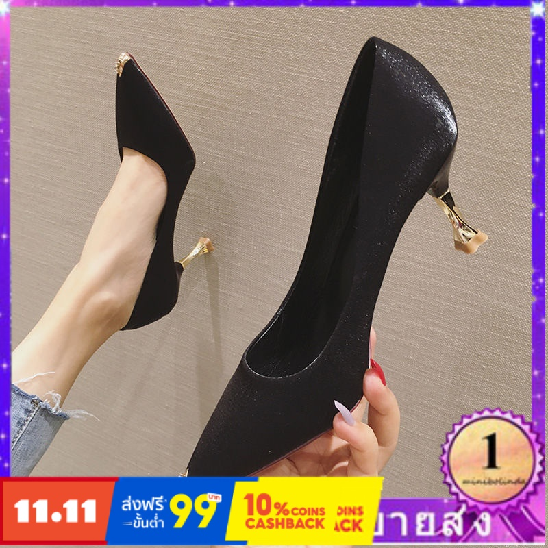 ⭐👠รองเท้าส้นสูง หัวแหลม ส้นเข็ม ใส่สบาย New Fshion รองเท้าคัชชูหัวแหลม  รองเท้าแฟชั่นเวอร์ชั่นเกาหลีของรองเท้าผู้หญิงหัว