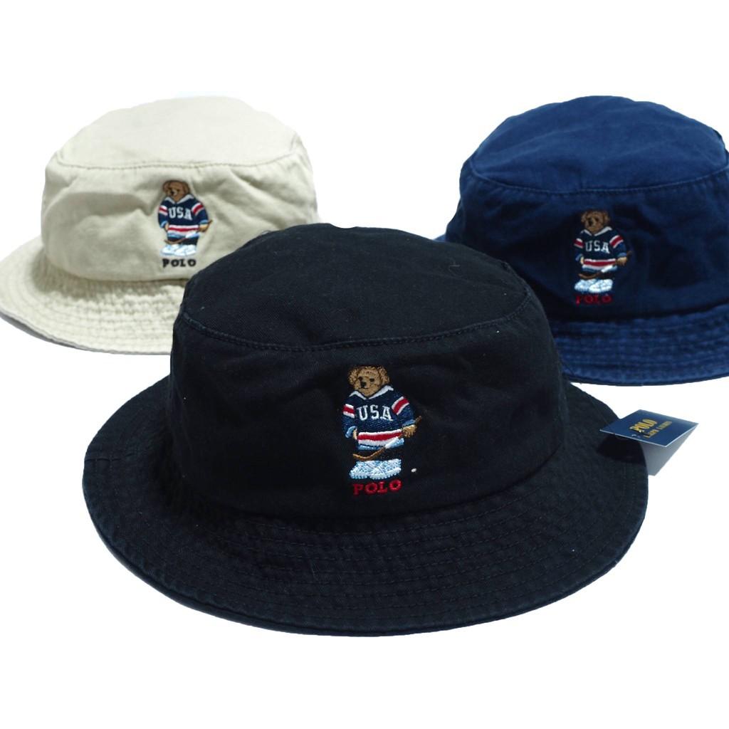 หมวกบักเก็ต หมวกบัคเก็ต Polo Ralph Lauren Teddy Bear bucket hat ของแท้  หมวกปีก หมวกผ้า หมวกแฟชั่น  แจ้งสีทางแชท