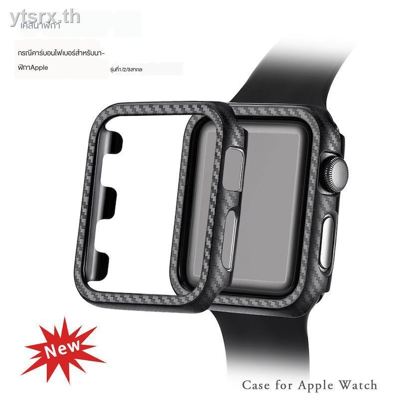 พร้อมกระจกนิรภัยป้องกันหน้าจอเคส Apple Watch Caseนาฬิกาข้อมือ Apple Watch SeriesSuitable for Iwatch5 Apple Watch 234 generation Applewatch carbon fiber pattern PC hard shell protective case
