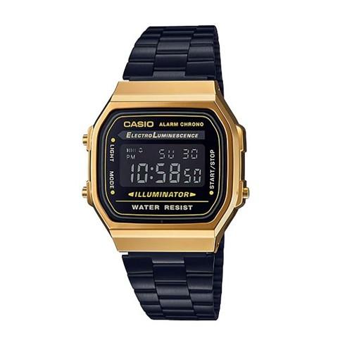 CASIO นาฬิกาข้อมือผู้หญิงสายสแตนเลส รุ่น A168WEGB-1BDF สีดำ