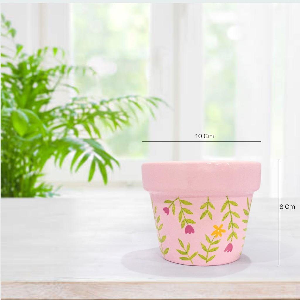 กระถางต้นไม้ Hans-painted สายหวาน สีชมพู pastel ลานเถาว์ดอกไม้ เหมาะสำหรับ กระบองเพชร / อวบน้ำ / ต้นไม้มงคล