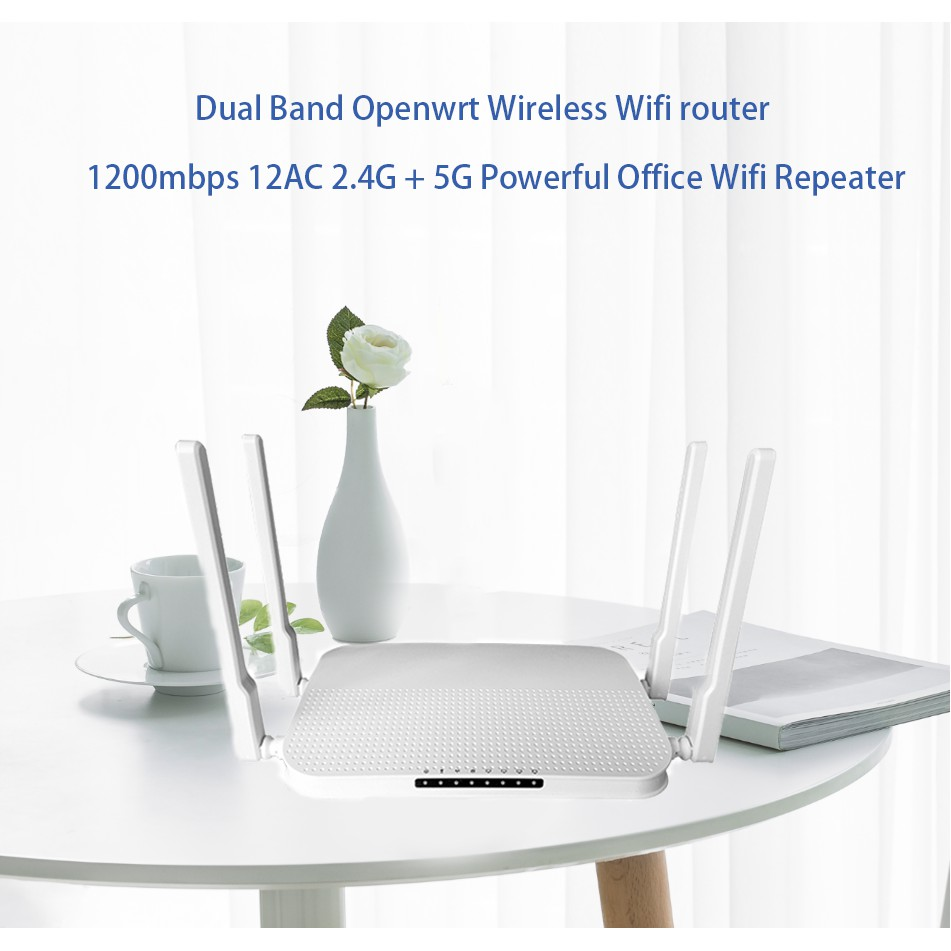 1200Mbps Powerful Dual Band Openwrt Wireless Router for Office Home use