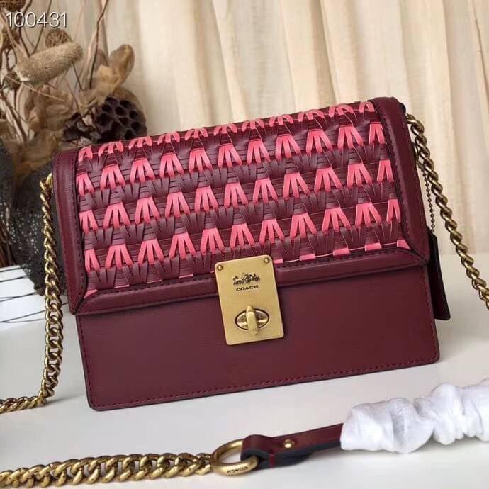 👌ผ่อนได้Coach แท้💯กระเป๋าสะพายข้าง Coach Hutton Shoulder Bag With Weaving