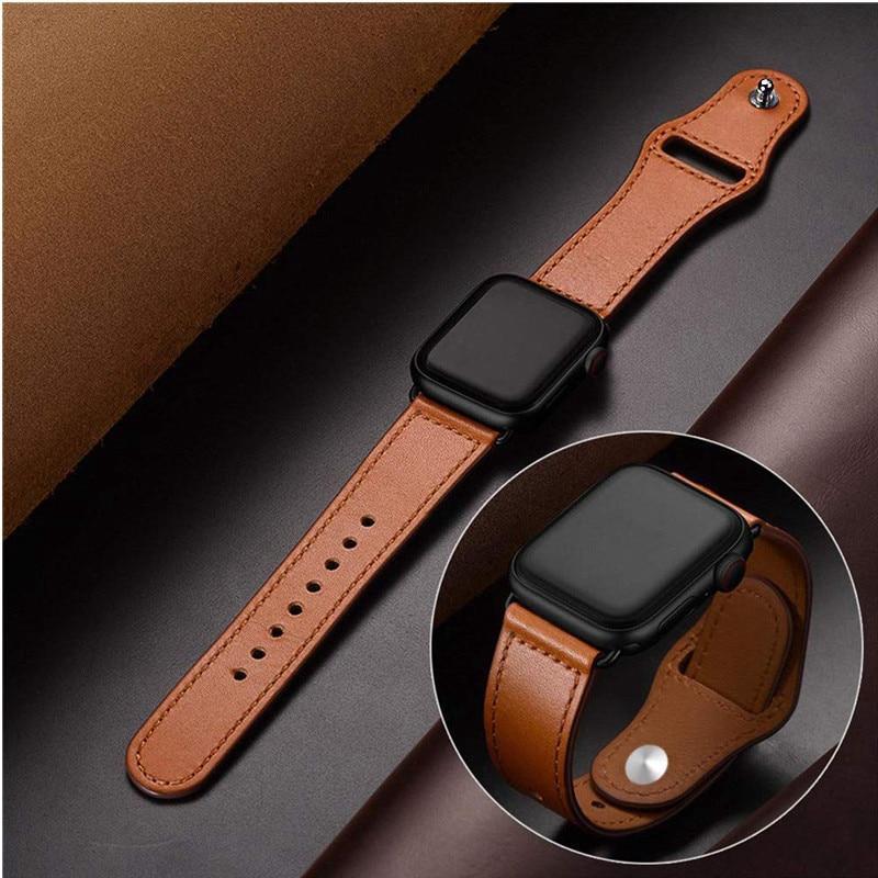 สายหนังแท้สำหรับ Apple นาฬิกา 42mm Series 5 4 3 2 1 band 44 มม.42 มม.38 มม.40 มม. สายรัดสำหรับ iWatch 4 3 2