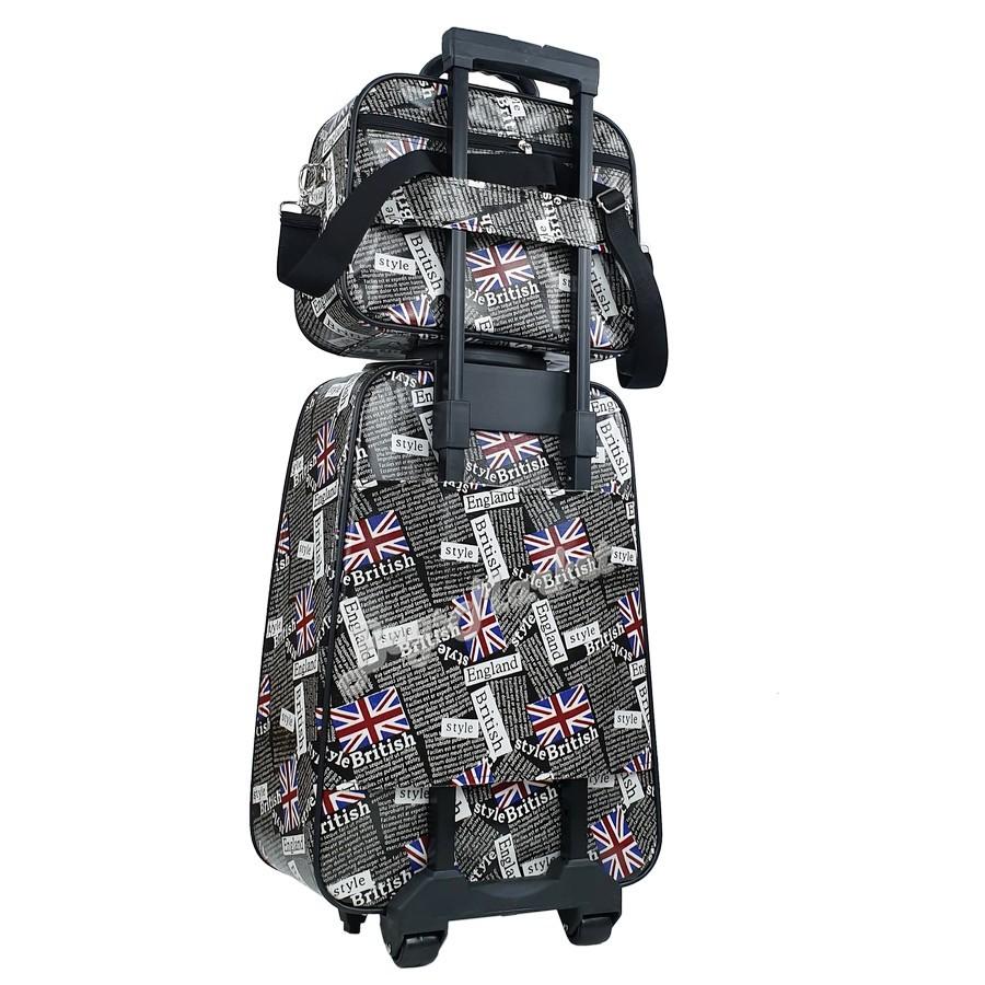 ☍BagsMarket Luggage 🔥 กระเป๋าเดินทางล้อลากขนาด 20/14 นิ้ว เซ็ท 2 ใบ ลายการ์ตูน Kitty Blue