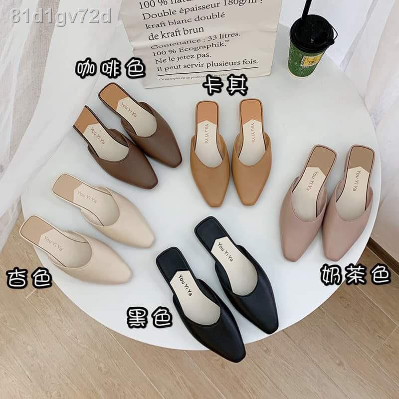 แฟชั่น∏✵№รองเท้าผู้หญิงมี 5 สีรองเท้าคัชชูปิดหัวเปิดส้นแบนนิ่มสวมใส่สบายรองเท้าชูรองเท้าคัทชูหนังหญิงส้นสูงส้นเท้าดำร