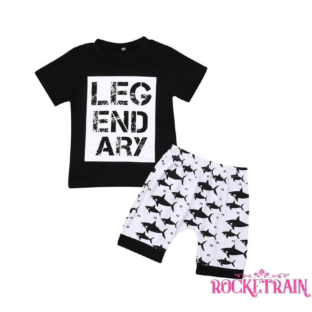 Pants Clothes Set 2PCS Toddler Kids Baby boys Outfits short Sleeve T-shirt Tops