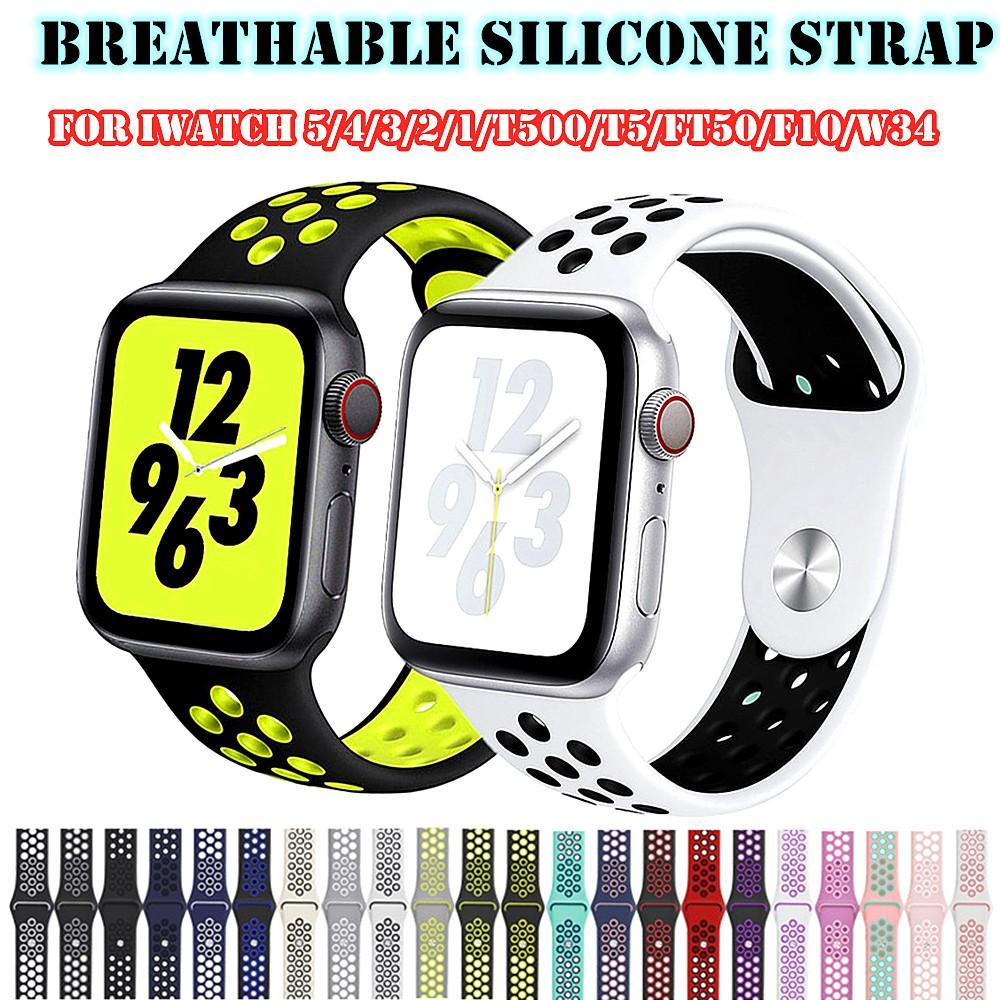 สายรัดนาฬิกา Silicone Strap iWatch Series Breathable Rubber Band Bracelets For Apple Watch 44mm/42mm/40mm/38mm/T500/T55/T5/K900/W34
