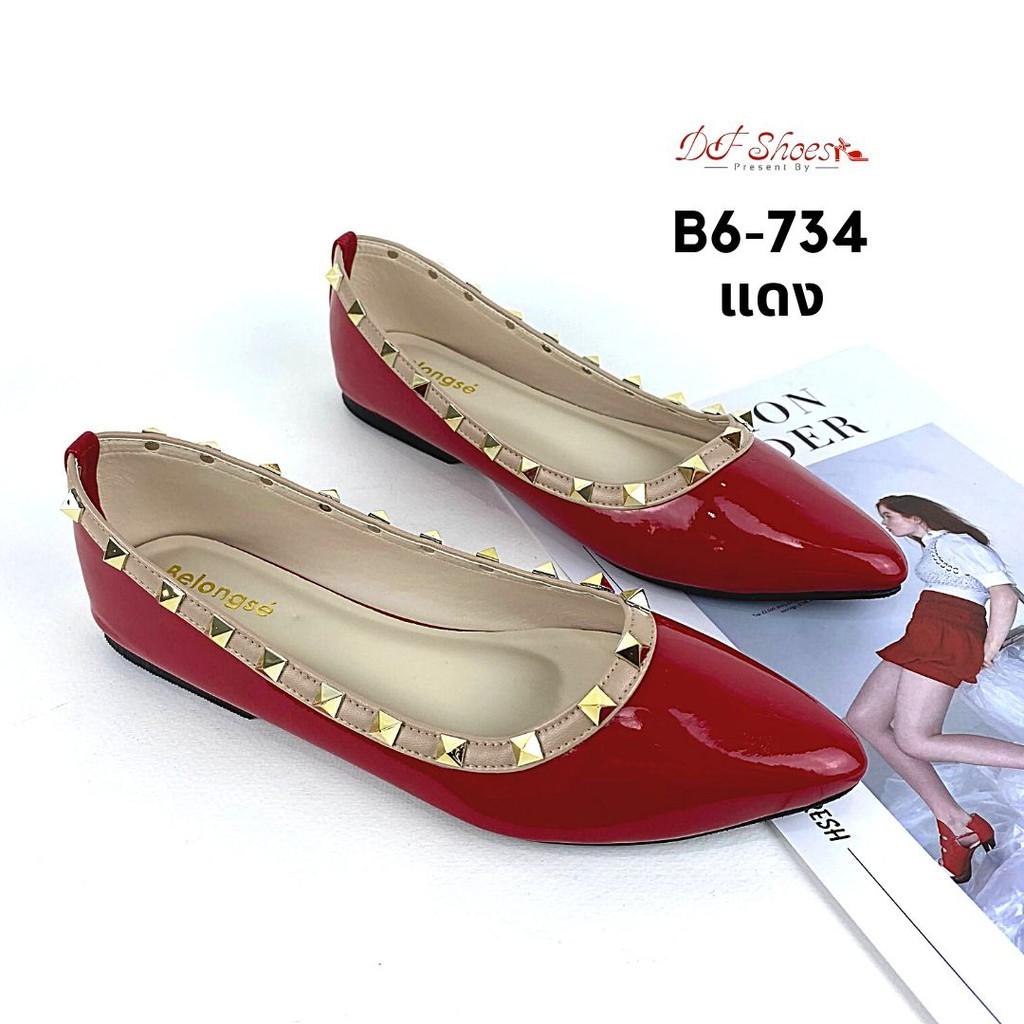 รองเท้าคัชชูส้นเตี้ยหัวแหลม belongse B6-734