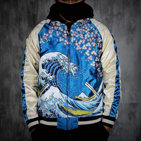 SUKAJAN พรีเมียมเกรด Japanese Souvenir Jacket  แจ็คเกตซูกาจันลาย  The Great Wave off Kanagawa
