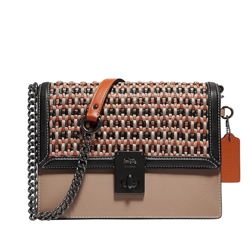 🔥ผ่อนได้🔥Coach แท้💯กระเป๋าสะพายข้าง Coach Hutton Shoulder Bag With Weaving