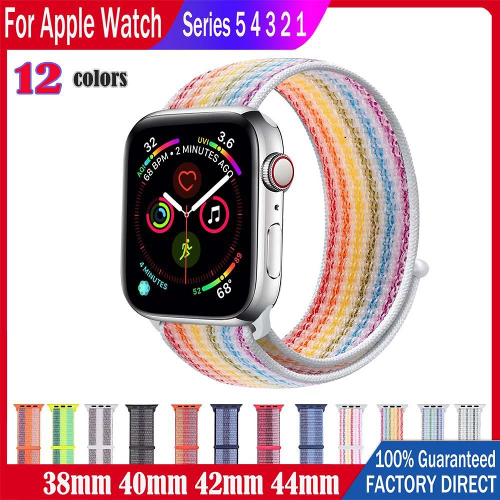 สาย applewatch สายนาฬิกาของ Apple watch strap สายไนล่อนวนลูป 38/40 มม. 42/44 มม. สำหรับ iWatch Series SE 6/5/4/3/2/1