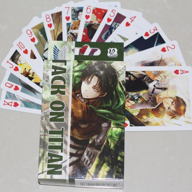 หุ่นญี่ปุ่น:54 cs/ack New Anime Attack on Titan Coslay Board Game laying Cards oker Cards Collection Gifts Figure Toys