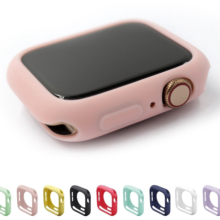 Candy TPU case for apple watch series 6 SE 5 4 3 2 colorful cover protector for iWatch 38 42 40 44mmUltra-thin frame band