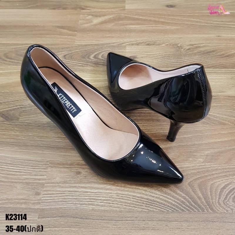 รองเท้าคัชชู หนังแก้ว รองเท้าส้นสูง รองเท้าส้นเข็ม สีดำ