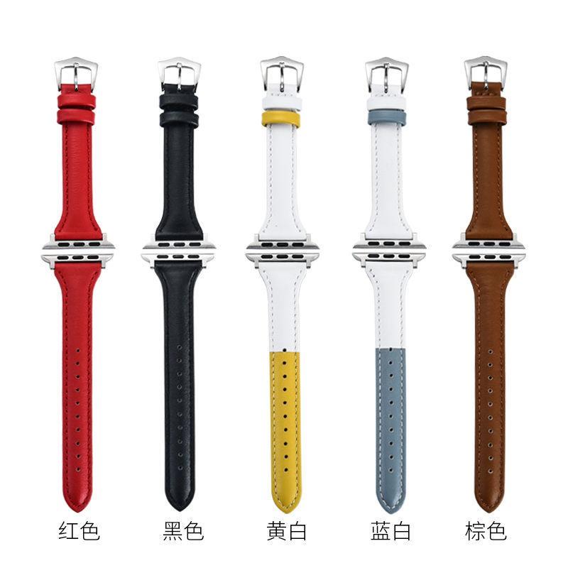 สายนาฬิกาข้อมือหนังสําหรับ Applewatch 123456 Generation Se Apple 4244 มม .