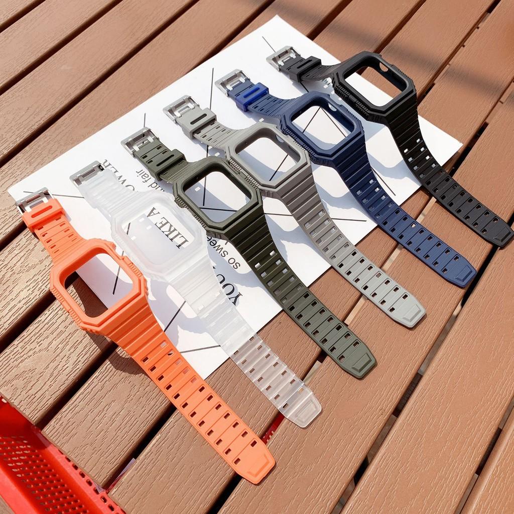 เคสนาฬิกา applewatchเหมาะสำหรับสายนาฬิกา Appleapplewatchสายรัดกีฬาซิลิโคนชิ้นเดียวiwatchสายจุดapplewatch