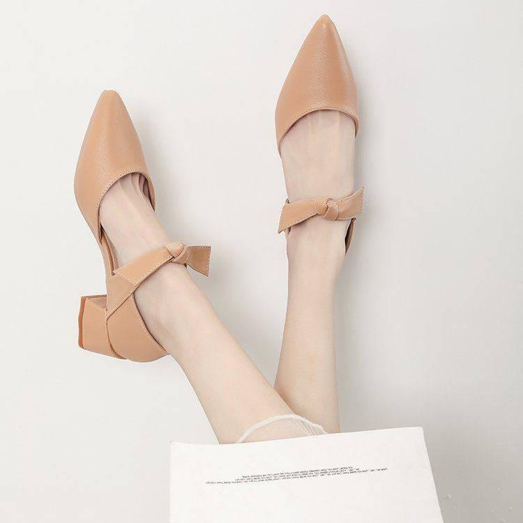 รองเท้าส้นสูง*รองเท้าคัชชู*รองเท้าส้นสูงผู้หญิง*รองเท้าเกาหลี* รองเท้านางฟ้าส้นสูงฝรั่งเศสขนาดเล็ก 2021 กับกระโปรงแฟชั่น