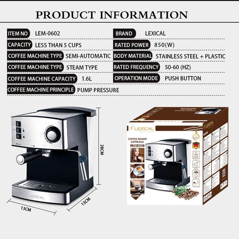 Aigrill เครื่องชงกาแฟ เครื่องชงกาแฟสด เครื่องชงกาแฟเอสเพรสโซ 850W/16L การทำโฟมนมแฟนซี เครื่องทำกาแฟขนาดเล็ก ประกัน 1 ปี