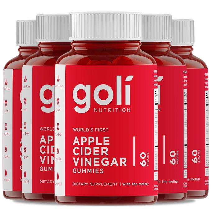 5x Goli Apple Cider Vinegar Gummies (60 Gummies per Box)