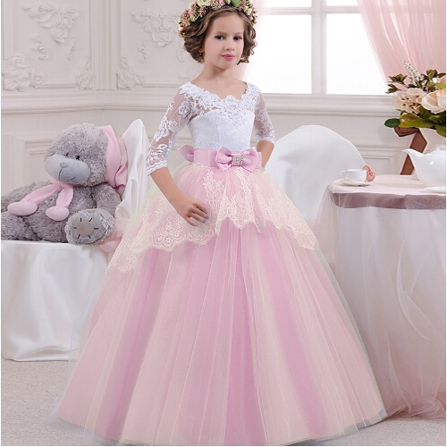 Tulle Flower Girl Dress Princess Prom Pageant Party Wedding Birthday Dance Gown