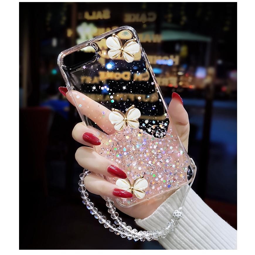 Sequin Glitter Star Silver Foil Butterfly Transparent Lanyard Soft Case Samsung A7 2018 A750 A8 Plus 2018 A6 A6 Plus A9 2018 A9 Star Pro A9S A2 Core J8 2018 J6 Plus J4 Plus