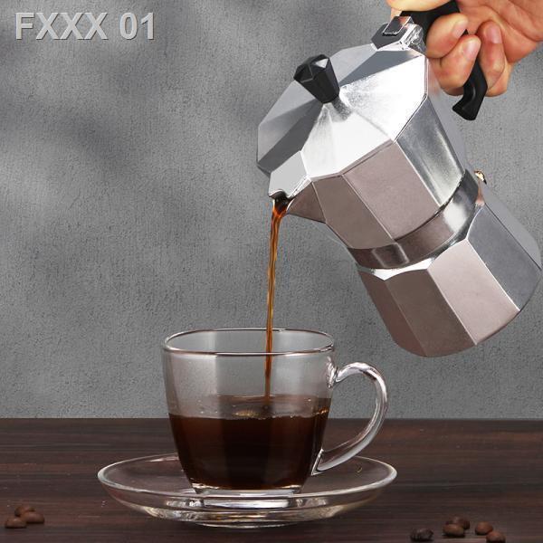 🔥Moka Pot🔥🔥ลดราคา🔥◑☜Coffee Moka Pot หม้อกาแฟทำมือในครัวเรือนอิตาเลี่ยนแบบพกพาอิตาลีชุดเครื่องชงกาแฟหยดเข้มข้น