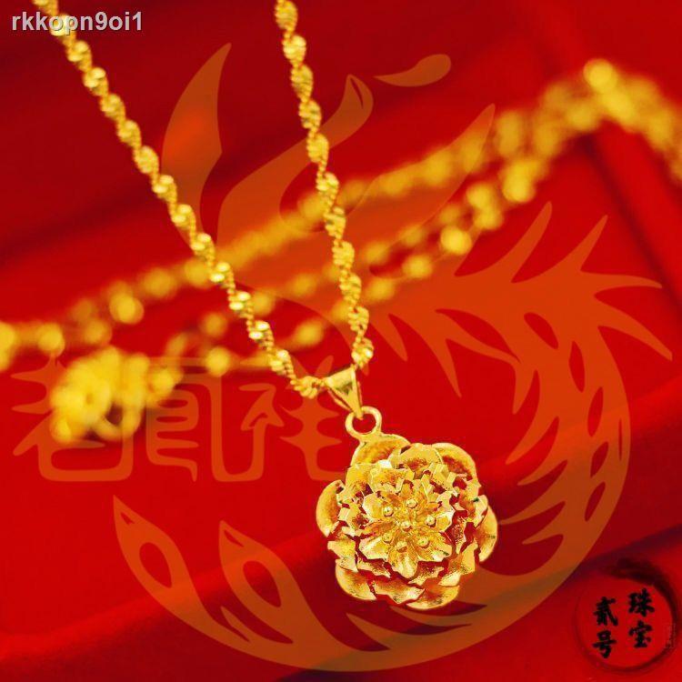 ราคาถูก ☍ของแท้24кสร้อยคอทองคำแท้เวียดนาม Shajin Ms. Korean Real Gold Clavicle Chain Simple Fashion จี้ทองคำแท้ 99