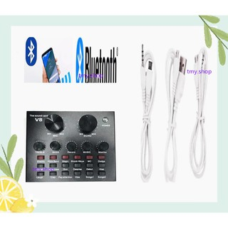 V8 Audio USB Headset Microphone Webcast Live Sound Card for Phone / Computer--(Bluetooth)