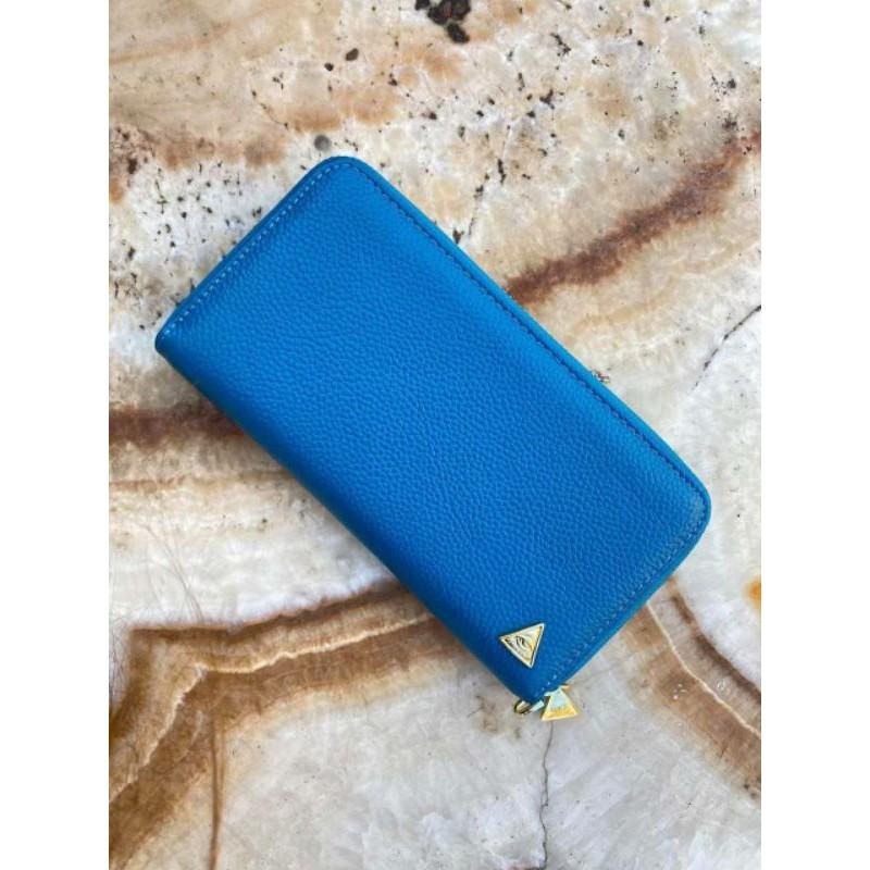 กระเป๋าสตางค์เศรษฐีเรียกทรัพย์ แบรนด์ คุณกิ่ง หนังแท้ ซิบรอบ(รุ่นแรก)สีฟ้า โปรแถมกระเป๋าคาดอก นุ๊ก/ปาย