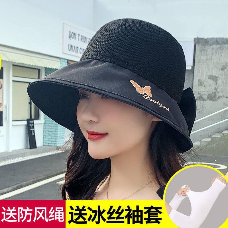 # หมวกแก๊ป#หมวกปีกกว้าง # ส่ง Anti-rope Spring และฤดูร้อนของผู้หญิงหมวกกันแดดหมวกอบไอน้ำผีเสื้อกลวงสามารถปรับชายหาดระบาย