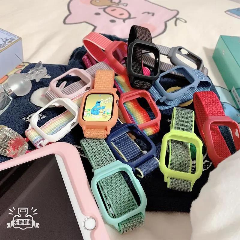 【Case + Strap】สายนาฬิกาข้อมือไนล่อนสําหรับ Apple Watch Series Se 6 5 4 3 2 1 Iwatch 38mm 40mm 42mm 44mm