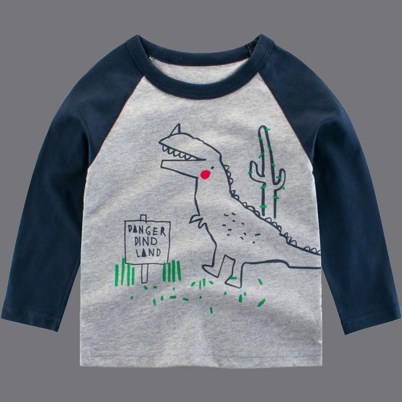 BOBORA Little Boys Long Sleeve Cotton T-Shirt Kids Shark Prints Sportswear Sweatshirts Clothing for Children at 1-10Years