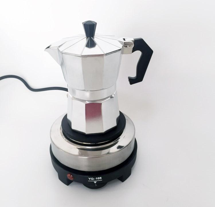 ✄ゑเครื่องชงกาแฟมือหม้อต้มกาแฟอิตาเลี่ยน Moka Pot แปดเหลี่ยมเครื่องทำกาแฟในครัวเรือนเตาไฟฟ้า Moka Pot หม้ออลูมิเนียมสีอลู