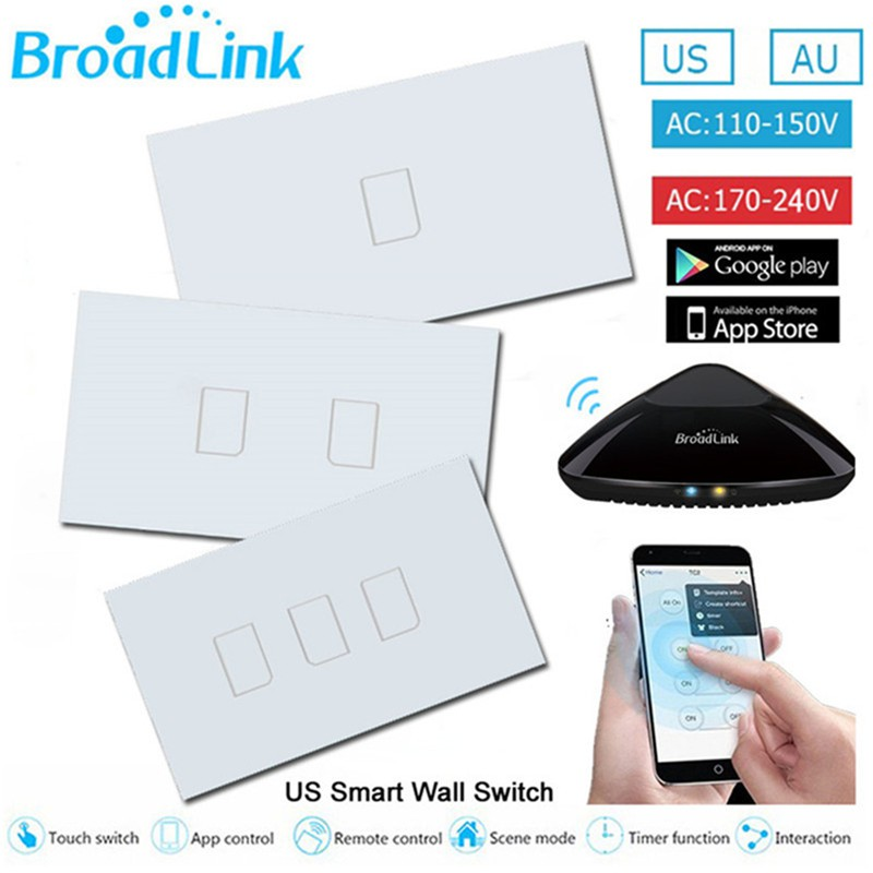 สวิตซ์ไฟ Broadlink TC2 US Standard 1/2/3 gang, mobile Remote light lamps  wall wifi Switch