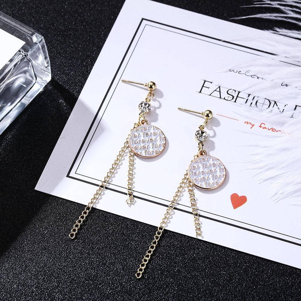 Charm Women Long Tassel Diamante Crystal Ear Stud Drop Dangle Earrings Jewelry #