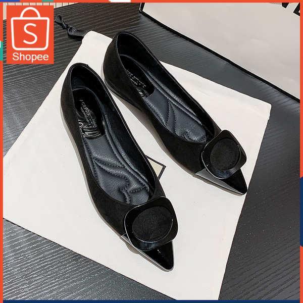 รองเท้าคัชชู ใส่สบาย สำหรับผู้หญิง รุ่นสีเรียบใส่ทำงาน ESCE เฉินรองเท้าสีดำสีดำ 2021 ฤดูใบไม้ผลิฤดูร้อนใหม่เอนกประสงค์บา