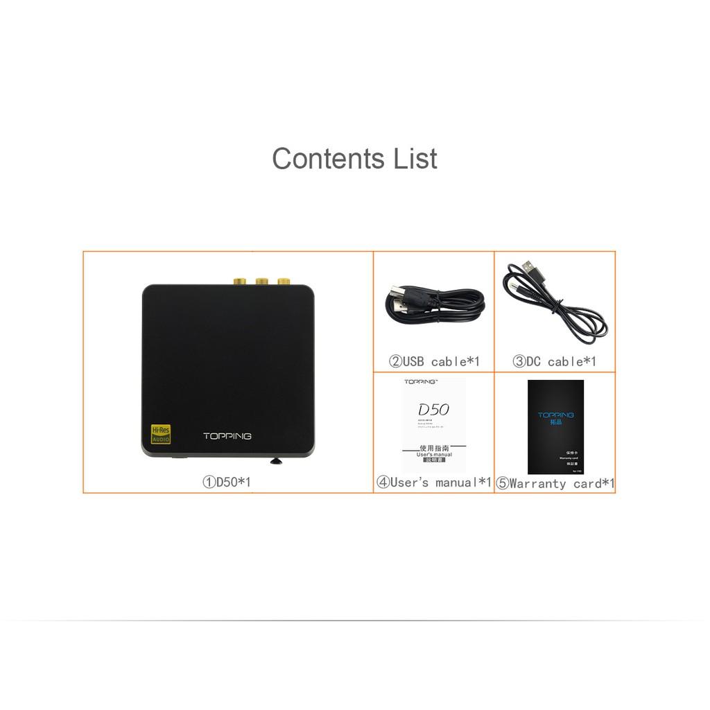 TOPPING D50 MINI HIFI AUDIO Decoding ES9038Q2M *2 USB DAC XMOS XU208