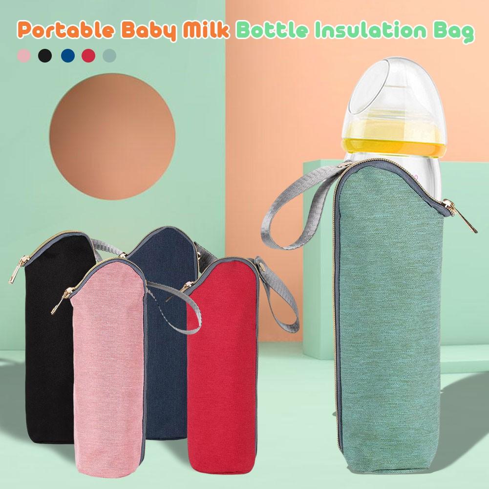 HE ฉนวนกันความร้อนขวดนมกระเป๋าเดินทางกระเป๋าขวดนมอุ่นสำหรับอาหารทารกแรกเกิดแบบพกพารถเข็นเด็กแขวนกระเป๋า