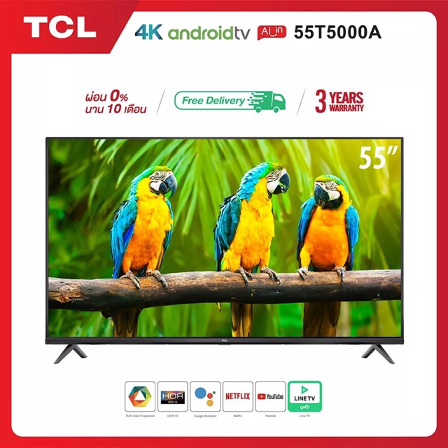 TCL TV 55 นิ้ว LED 4K (Android 9.0)