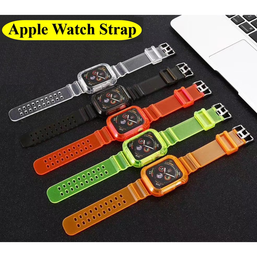 สาย Apple Watch Series สายรัดใส 6/5/4/3/2/1,Apple Watch SE นาฬิกาข้อมือ Apple Watch หัวเข็มขัดตัวเดิมของ Apple เข็มกลัดผีเสื้อสายโลหะ iWatch สแตนเลส apple watch strap