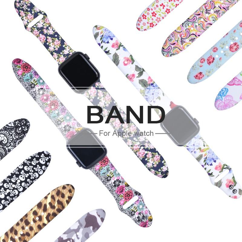Apple watch สายนาฬิกา for iWatch Series 6/5/4/3/2/1,Apple Watch SE สายนาฬิกาข้อมือซิลิโคน ขนาด 38มม 40มม 42มม 44มม Floral Silicone Replacement Sport สาย applewatch / Apple Watch Series 6 5