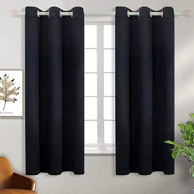 ผ้าม่านสีพื้น ม่านหน้าต่าง สีดำ ผ้าม่านประตู สำเร็จรูป ผ้าม่านไม่มีลาย ผ้าม่านกันแดด