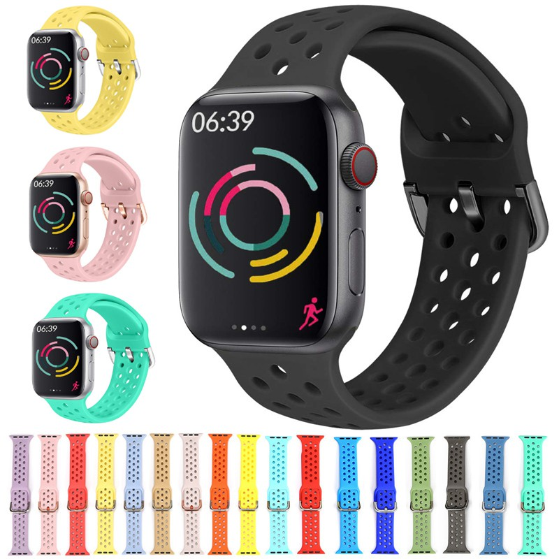 Silicone Strap For Apple Watch band 44mm 42mm 40mm 38mm Sport watchband bracelet iWatch for apple watch series 6 SE 5 4