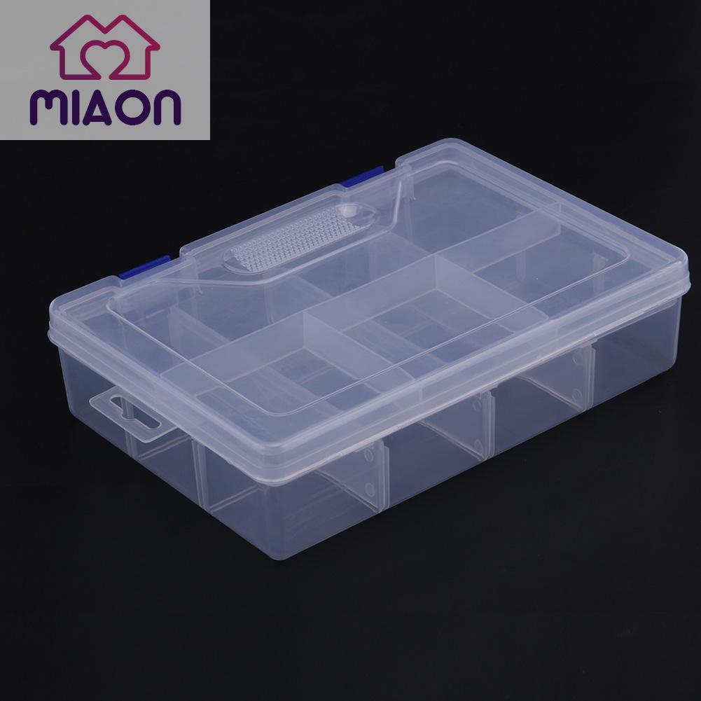 6 Grids Transparent Storage Box Plastic Detachable Hardware Tool Jewelry Case Jewelry Storage Box