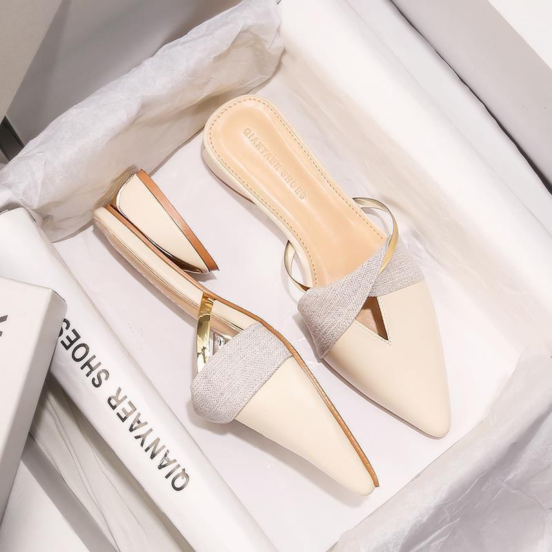 รองเท้าแตะ แหลม มุลเลอร์ รองเท้าคัชชู ผู้หญิง ส้นเรียบ ใส่สบาย คัทชู คัตชู ใส่ทำงาน รองเท้าคัทชู ส้นเรียบ