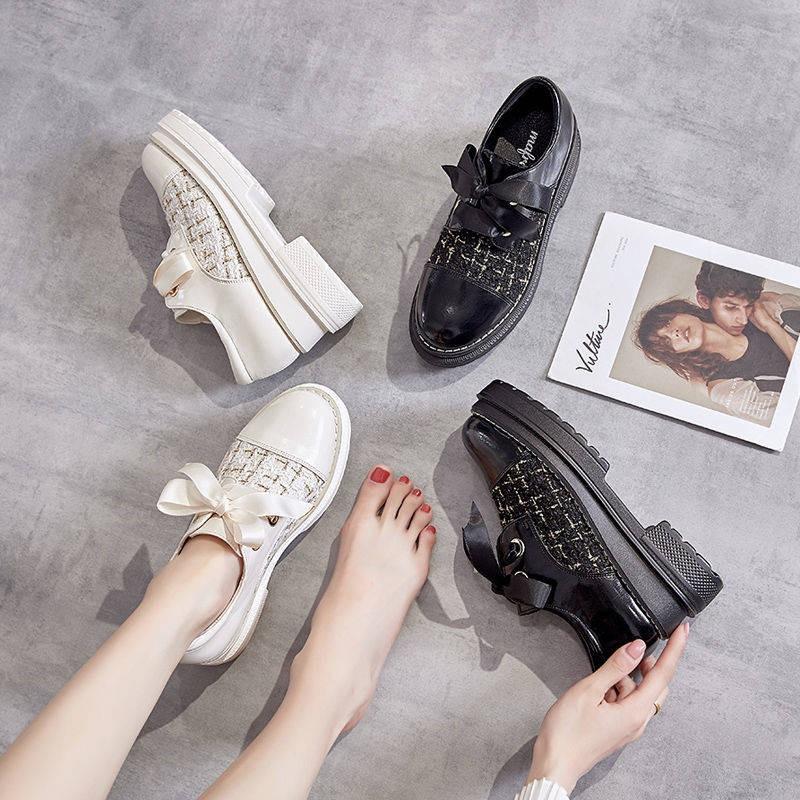 รองเท้าผู้หญิง รองเท้าคัชชู ✮รองเท้าผู้หญิงรองเท้าเดียว 2021 ใหม่สปริงนักเรียนร้อยหนาด้านล่างสีดำอังกฤษลมรองเท้าหนังขนาด