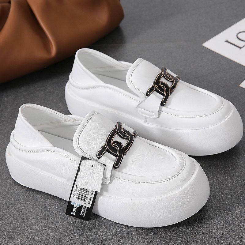 รองเท้าคัชชูเปิดส้น รองเท้าคัชชูเปิดส้นผู้หญิง สองสวมใส่ตุ๊กตาหนังหัวอังกฤษลมรองเท้าหนังขนาดเล็กเด็ก 2021 ฤดูใบไม้ผลิและ