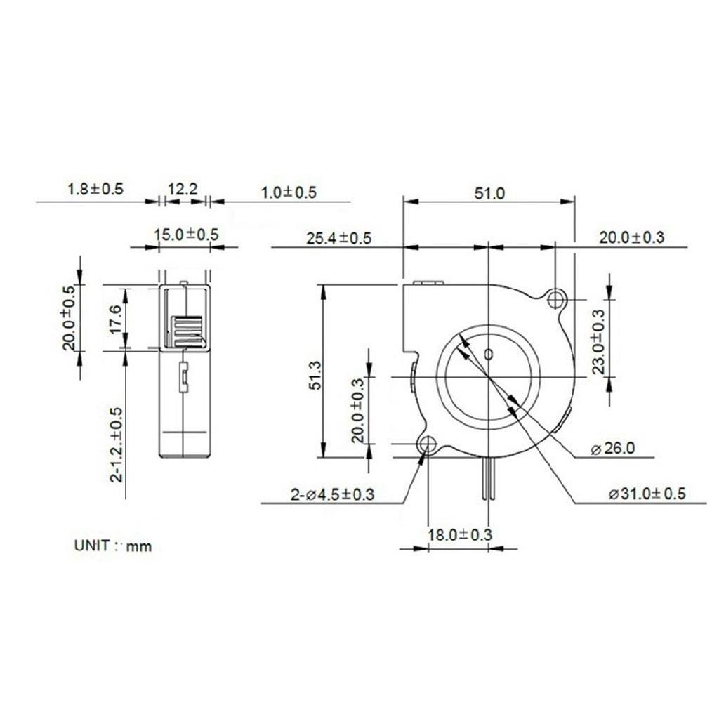 2 PCS Mini Cooling Fan 5015 DC 12V Radial Turbo Blower Fan For 3D Printer MA